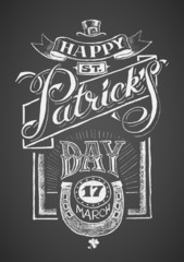 Happy St. Patrick's Day. Chalkboard