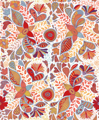 Seamless pattern with flowers in white background