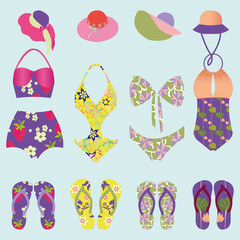 set of beach fashion  colorful swimsuit and  Flip Flops
