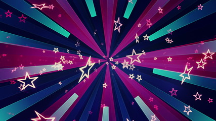 Looping Retro Stars Bright Colored Animated Background