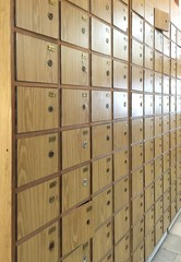 Old postal wooden mailboxes