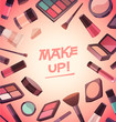 A lot of cosmetics for makeup. Vector illustration - 78902622