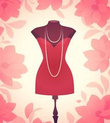 Dress model. Vector illustration
