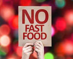 No Fast Food card with colorful background