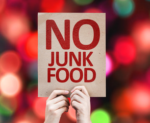 No Junk Food card with colorful background