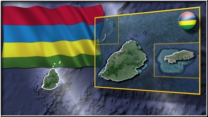 Mauritius flag and map animation