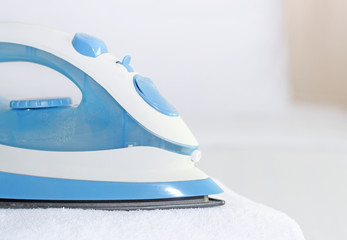 blue iron to iron the towel closeup