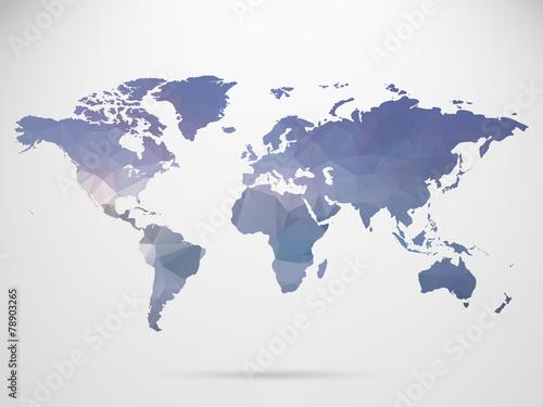 Fototapeta World map background in polygonal style