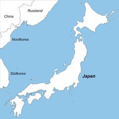 Japan in weiß (beschriftet)