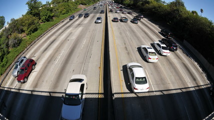 Time Lapse of Busy Freeway In Los Angeles