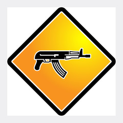 Automatic rifle sign, vector