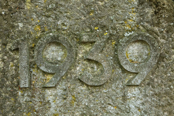 Year 1939 carved in the stone. The years of World War II.