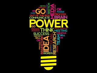 POWER word cloud bulb vector concept
