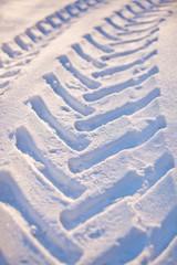 Tire tracks car on snow