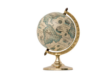 Old Style World Globe - Isolated on White