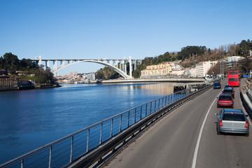 Morning at Duoro river in Porto , Portugal.