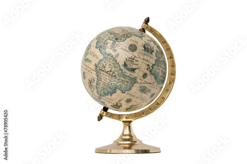 Aluminium Zuid-Amerika land Old Style World Globe - Isolated on White