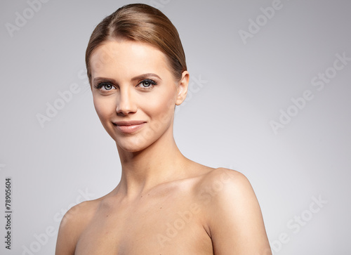 canvas print picture Natural Beauty Portrait. Beautiful Spa Woman . Perfect Fresh Ski