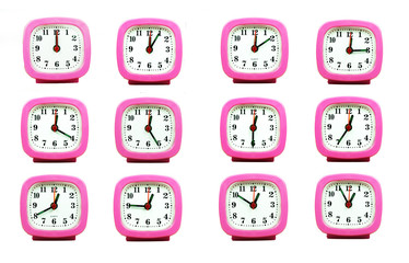 collection of clock From 12:00 to 1:00 AM and PM isolated in whi