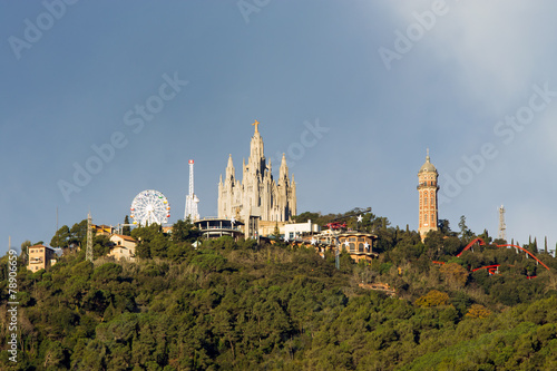 canvas print picture Mount Tibidabo with the church Sagrat Cor in Barcelona