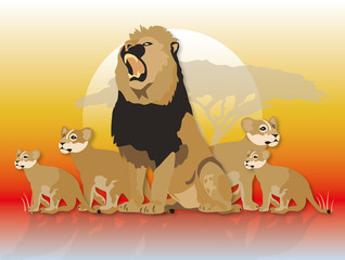 lion pride male & cubs illustration
