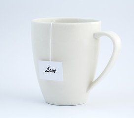 Tea cup with note - LOVE