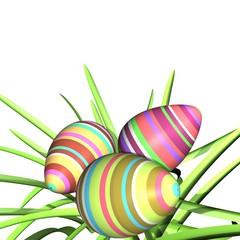 Close up van drie gekleurde paaseitjes