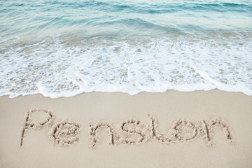 Pension Written On Sand By Sea