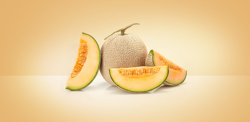 Japanese yellow melon fruit  isolated on colored background