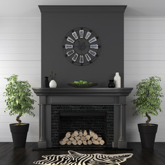 Living room with black fireplace in classic style