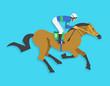 jockey riding race horse number 9, Vector illustration - 78909217