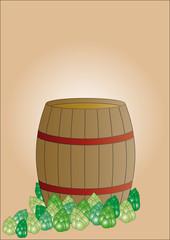 Bierfass mit Hopfen