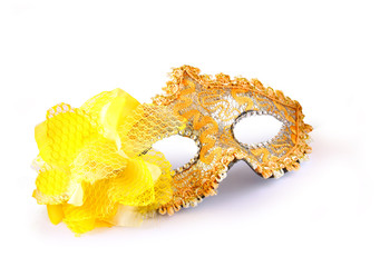 yellow carnival mask isolated on white