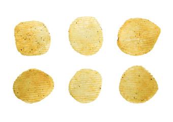 spicy potato crisps isolated on white