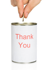 Person Putting Coin In Thank You Can