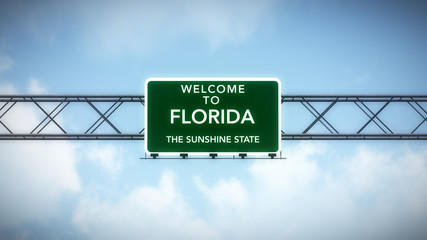 Florida USA State Welcome to Highway Road Sign