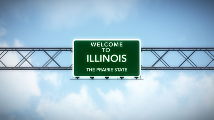 Illinois USA State Welcome to Highway Road Sign