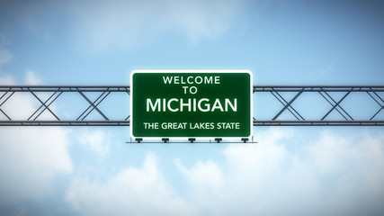 Michigan USA State Welcome to Highway Road Sign