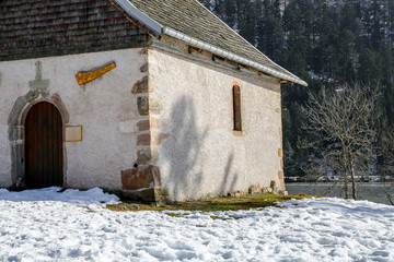 Beautiful small church set among the snow