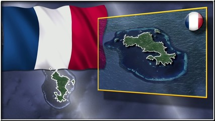Mayotte flag and map animation