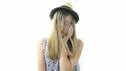 a teenage girl talking on the phone