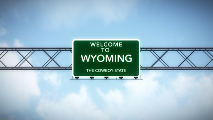 Wyoming USA State Welcome to Highway Road Sign