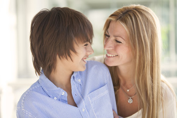 Happy woman and son