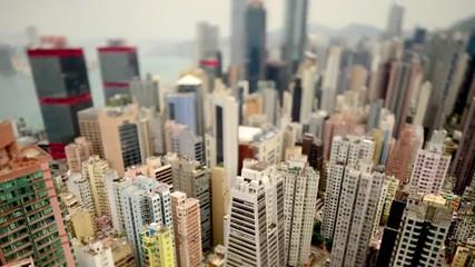 Tilt Shift / Time Lapse of Hong Kong Skyline and Victoria Harbour - Hong Kong