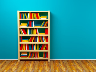 bookcase blue wall