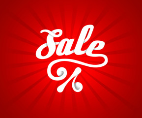 Sale letters poster on red radial background, vector