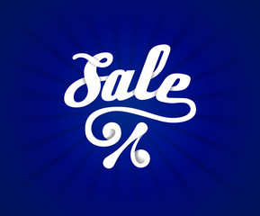 Sale letters poster on blue radial background, vector