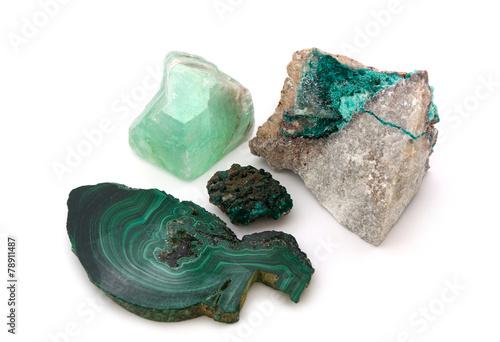 Spoed canvasdoek 2cm dik Edelsteen 4 grüne Minerale