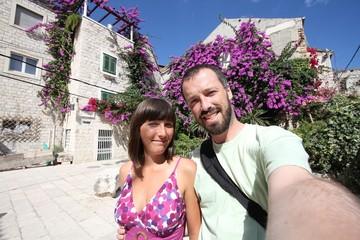 Vacation couple selfie in Split, Croatia