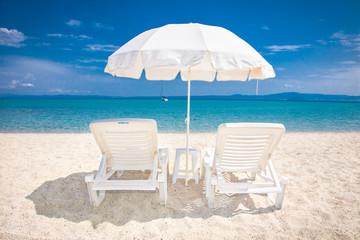 Beautiful Hanioti beach on Kasandra peninsula,  Greece.
